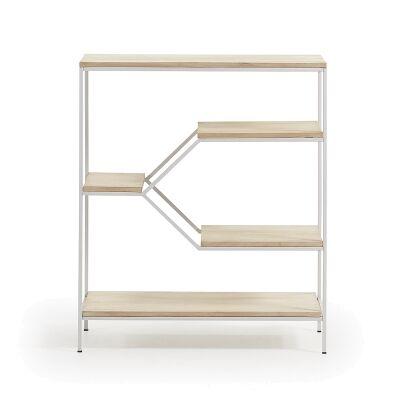 Prescott Steel & Mango Wood Display Shelf, Small, White