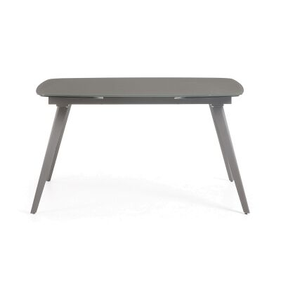 Terra Tempered Glass & Steel Extendable Dining Table, 140-210cm, Anthracite