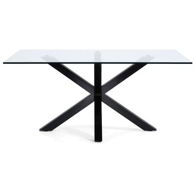 Bromley Tempered Glass & Epoxy Steel Dining Table, 150cm, Clear / Black