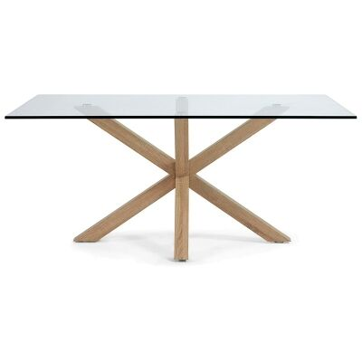 Bromley Tempered Glass & Steel Dining Table, 150cm, Clear / Natural