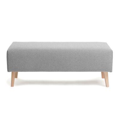 Lynn Fabric Ottoman Bench, Light Grey