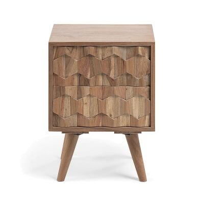 Ilyssa Carved Acacia Timber Bedside Table