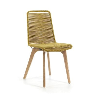 Gibson Rope & Eucalyptus Timber Indoor / Outdoor Dining Chair, Mustard