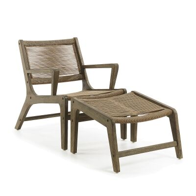 Bosley Rope & Eucalyptus Timber Indoor / Outdoor Lounge Chair with Foot Stool, Khaki