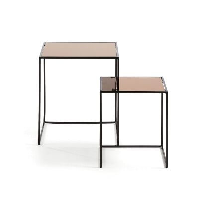Ogile 2 Piece Mirror Topped Steel Nesting Table Set