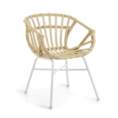 Lathbury Rattan & Metal Dining Armchair, Natural / White