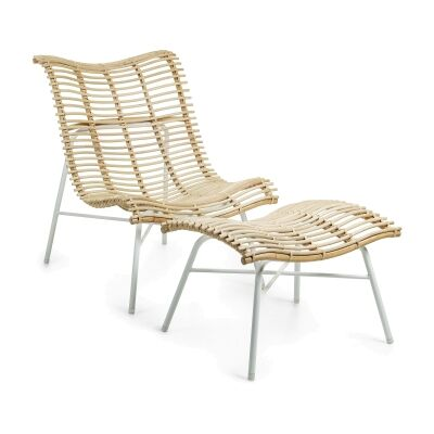 Paddox Rattan & Steel Lounge Chair with Footrest