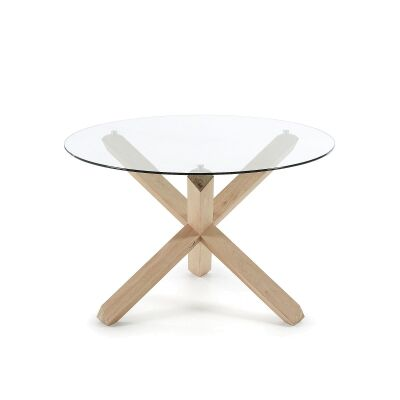 Haydon Oak Timber Round Dining Table, Glass Top, 120cm