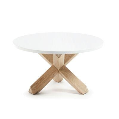 Haydon Oak Timber Round Coffee Table, White Top, 65cm
