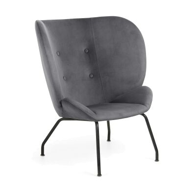 Kaye Velvet Fabric Lounge Chair, Grey