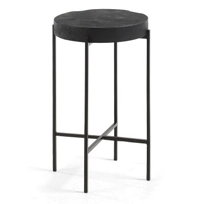 Wye Teak Timber Topped Metal Side Table