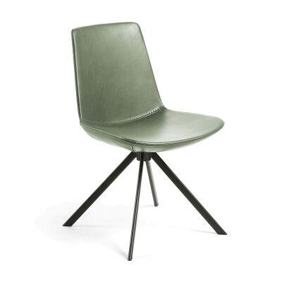 Eurobin PU Leather & Steel Dining Chair, Green