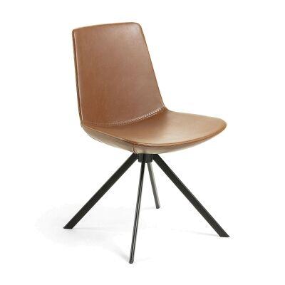 Eurobin PU Leather & Steel Dining Chair, Tan