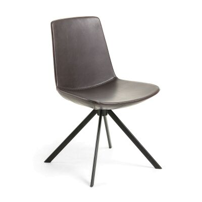 Eurobin PU Leather & Steel Dining Chair, Brown