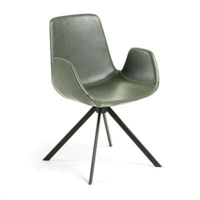 Lambeth PU Leather & Steel Dining Armchair, Green