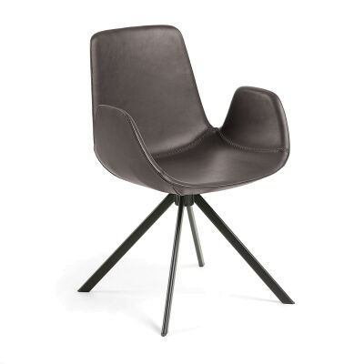 Lambeth PU Leather & Steel Dining Armchair, Brown