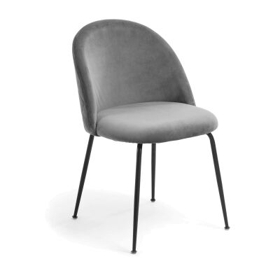 Loftus Velvet Fabric Dining Chair, Grey / Black