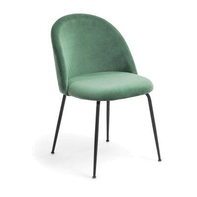 Loftus Velvet Fabric Dining Chair, Emerald / Black