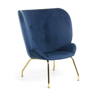 Kaye Velvet Fabric Lounge Chair, Navy