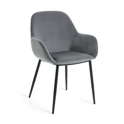 Kier Velvet Fabric Dining Armchair, Grey