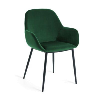 Kier Velvet Fabric Dining Armchair, Green