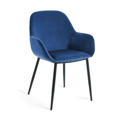 Kier Velvet Fabric Dining Armchair, Blue