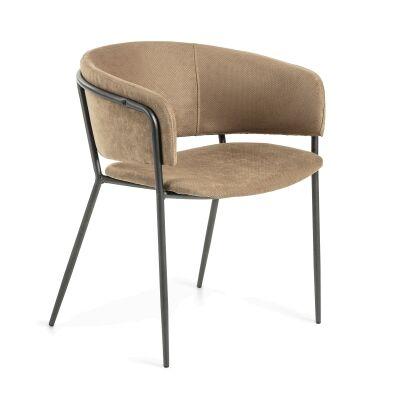 Huda Fabric Dining Armchair, Beige / Gumetal