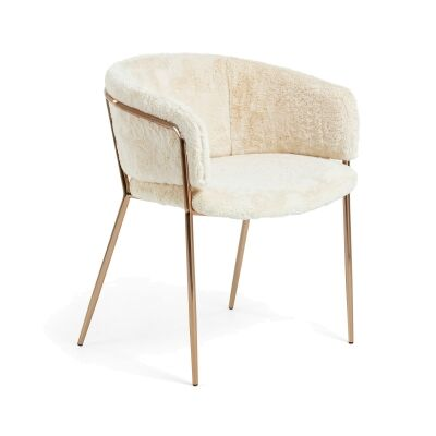 Huda Faux Fur Dining Armchair, Ivory / Copper