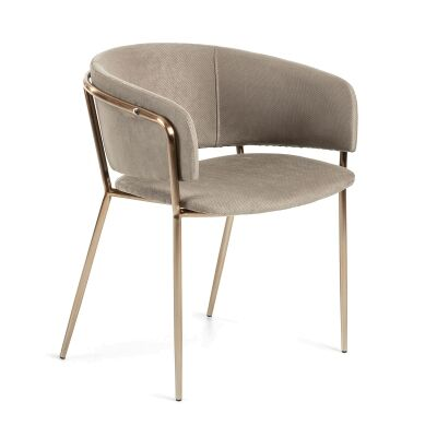 Huda Fabric Dining Armchair, Taupe / Copper