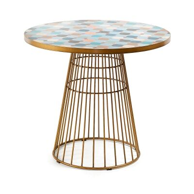 Liana Tile Mosaic Topped Steel Indoor / Outdoor Round Dining Table, 90cm