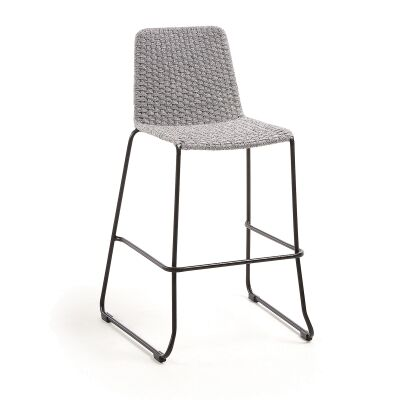 Merilyn Rope & Steel Indoor / Outdoor Bar Stool, Grey