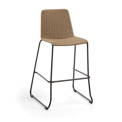 Merilyn Rope & Steel Indoor / Outdoor Bar Stool, Beige