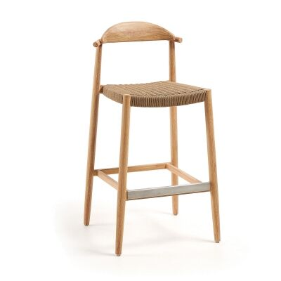 Galton Eucalyptus Timber Indoor / Outdoor Bar Stool with Rope Seat, Natural / Brown