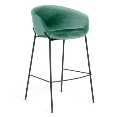 Christopher Velvet Fabric & Steel Counter Stool, Green