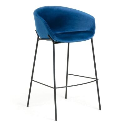 Christopher Velvet Fabric & Steel Counter Stool, Blue