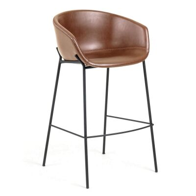 Christopher PU Leather & Steel Counter Stool, Toffee