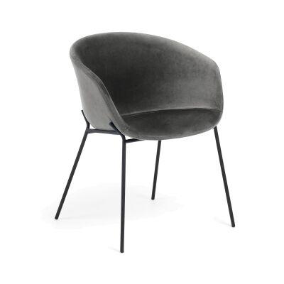 Christopher Velvet Fabric & Steel Dining Armchair, Grey