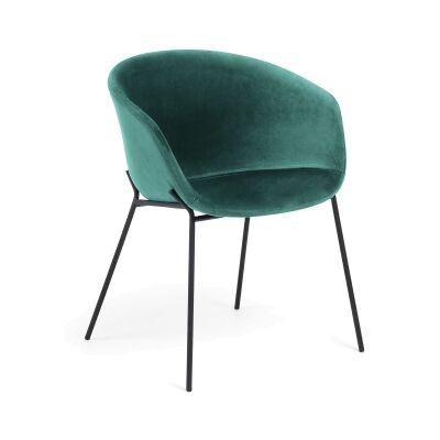 Christopher Velvet Fabric & Steel Dining Armchair, Green