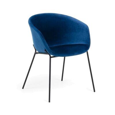 Christopher Velvet Fabric & Steel Dining Armchair, Blue