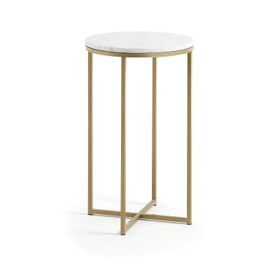 Mckee Marble Topped Steel Round Side Table