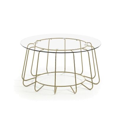 Delores Glass Topped Steel Round Coffee Table, 80cm