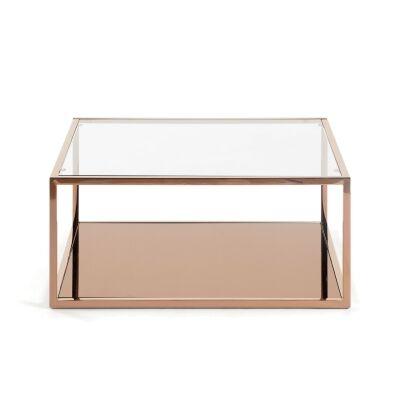 Clipstone Glass Topped Steel Square Coffee Table, 80cm, Copper
