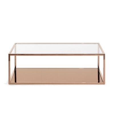 Clipstone Glass Topped Steel Coffee Table, 110cm, Copper
