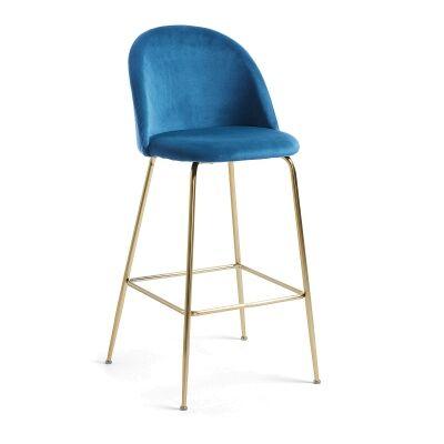 Loftus Velvet Fabric Counter Stool, Blue / Gold