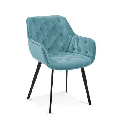 Rollins Velvet Fabric Dining Armchair, Turquoise