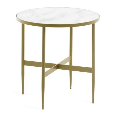 Cara Glass Top Metal Round Side Table