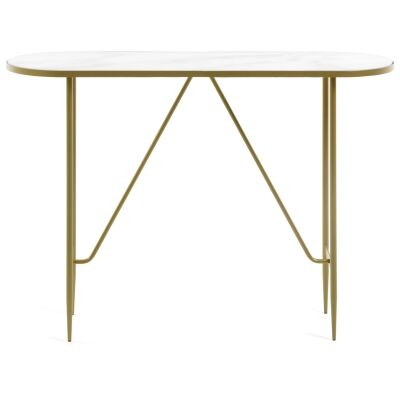 Cara Glass Top Metal Oval Console Table, 110cm