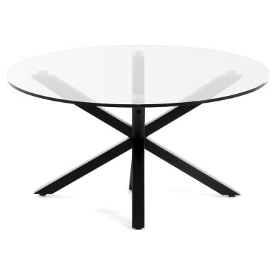 Bromley Tempered Glass & Epoxy Steel Round Coffee Table, 82cm, Clear / Black