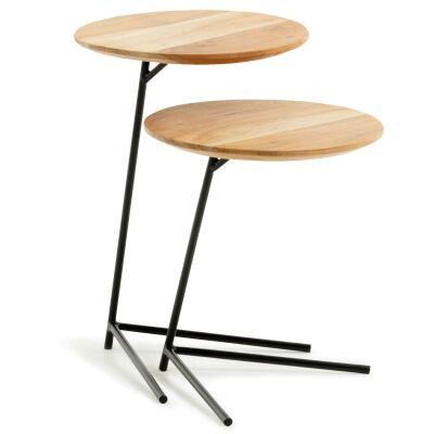 York 2 Piece Acacia Timber Top Metal Nesting Table Set
