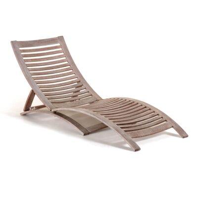 Thompson Balau Timber Foldable Sun Lounge, White Wash